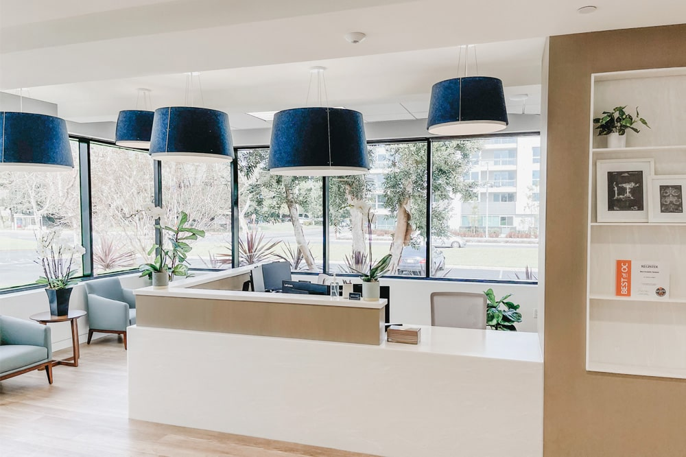 Office Front Desk Waiting Room Blue Lampshades